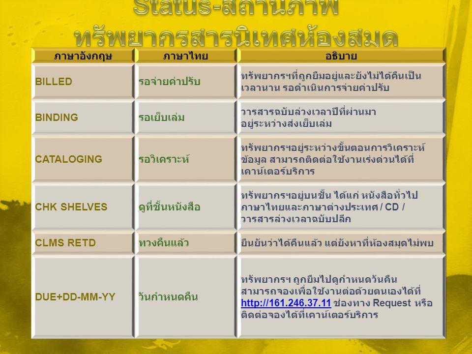 ภาษาอังกฤษภาษาไทยอธิบาย BILLED รอจ่ายค่าปรับ ทรัพยากรฯที่ถูกยืมอยู่และยังไม่ได้คืนเป็น เวลานาน รอดำเนินการจ่ายค่าปรับ BINDING รอเย็บเล่ม วารสารฉบับล่ว