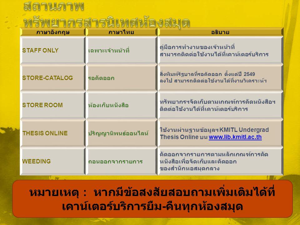 ภาษาอังกฤษภาษาไทยอธิบาย STAFF ONLY เฉพาะเจ้าหน้าที่ คู่มือการทำงานของเจ้าหน้าที่ สามารถติดต่อใช้งานได้ที่เคาน์เตอร์บริการ STORE-CATALOG รอคัดออก สิ่งพ