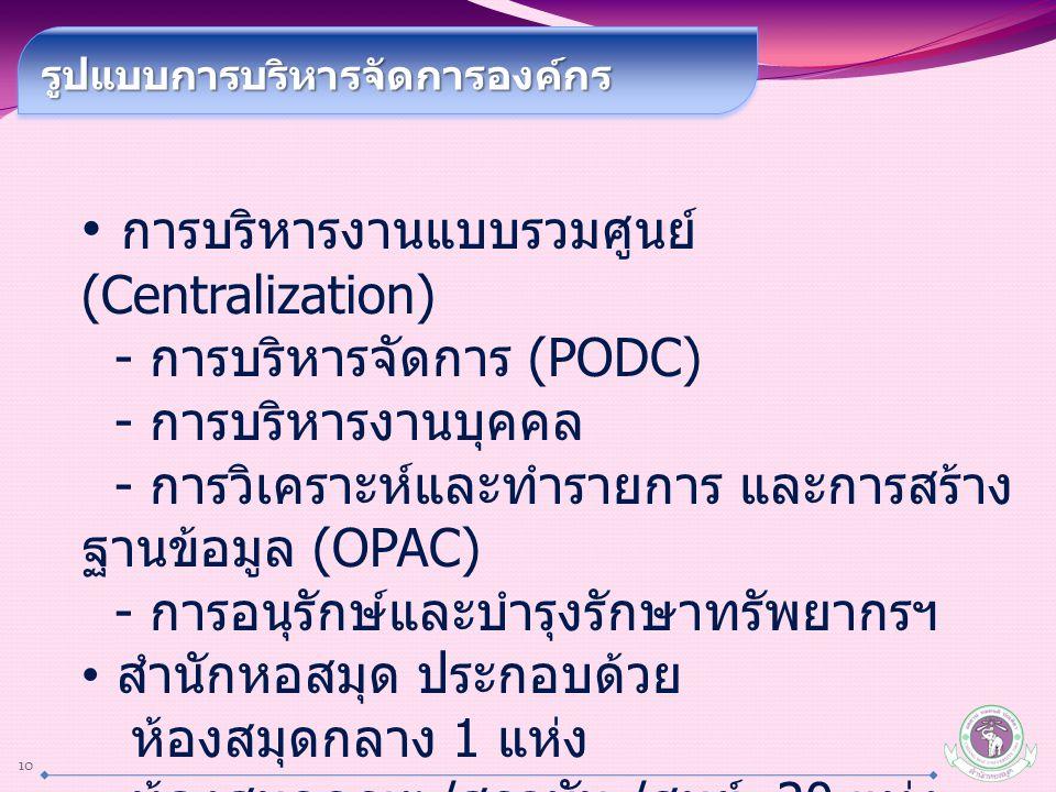 10 รูปแบบการบริหารจัดการองค์กรรูปแบบการบริหารจัดการองค์กร การบริหารงานแบบรวมศูนย์ (Centralization) - การบริหารจัดการ (PODC) - การบริหารงานบุคคล - การวิเคราะห์และทำรายการ และการสร้าง ฐานข้อมูล (OPAC) - การอนุรักษ์และบำรุงรักษาทรัพยากรฯ สำนักหอสมุด ประกอบด้วย ห้องสมุดกลาง 1 แห่ง ห้องสมุดคณะ / สถาบัน / ศูนย์ 20 แห่ง