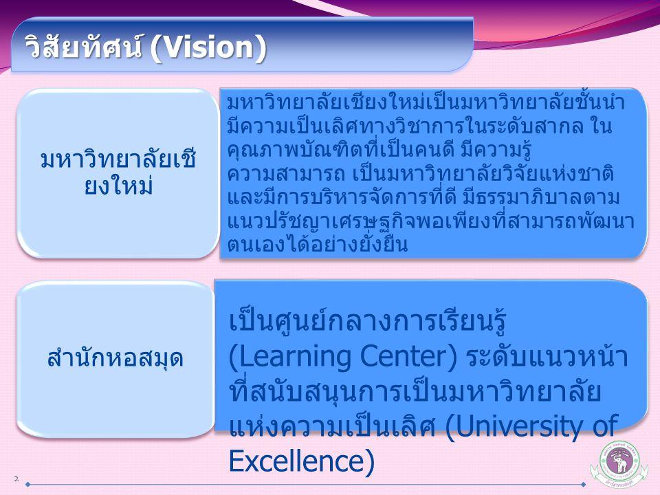 มหาวิทยาลัยเชียงใหม่เป็นมหาวิทยาลัยชั้นนำ มีความเป็นเลิศทางวิชาการในระดับสากล ใน คุณภาพบัณฑิตที่เป็นคนดี มีความรู้ ความสามารถ เป็นมหาวิทยาลัยวิจัยแห่ง