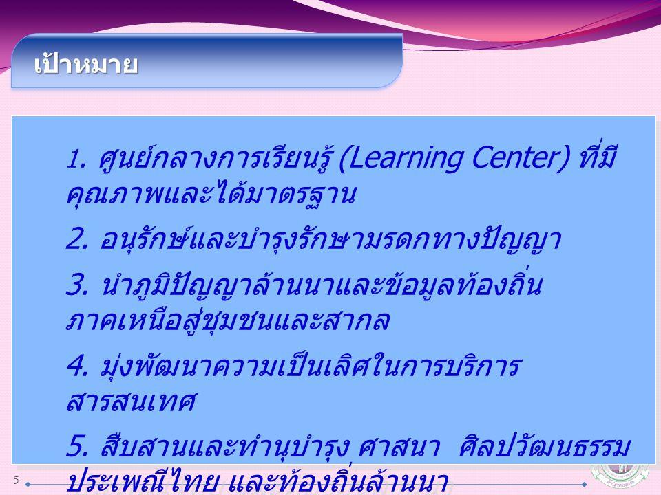 เป้าหมาย เป้าหมาย 1. ศูนย์กลางการเรียนรู้ (Learning Center) ที่มี คุณภาพและได้มาตรฐาน 2. อนุรักษ์และบำรุงรักษามรดกทางปัญญา 3. นำภูมิปัญญาล้านนาและข้อม