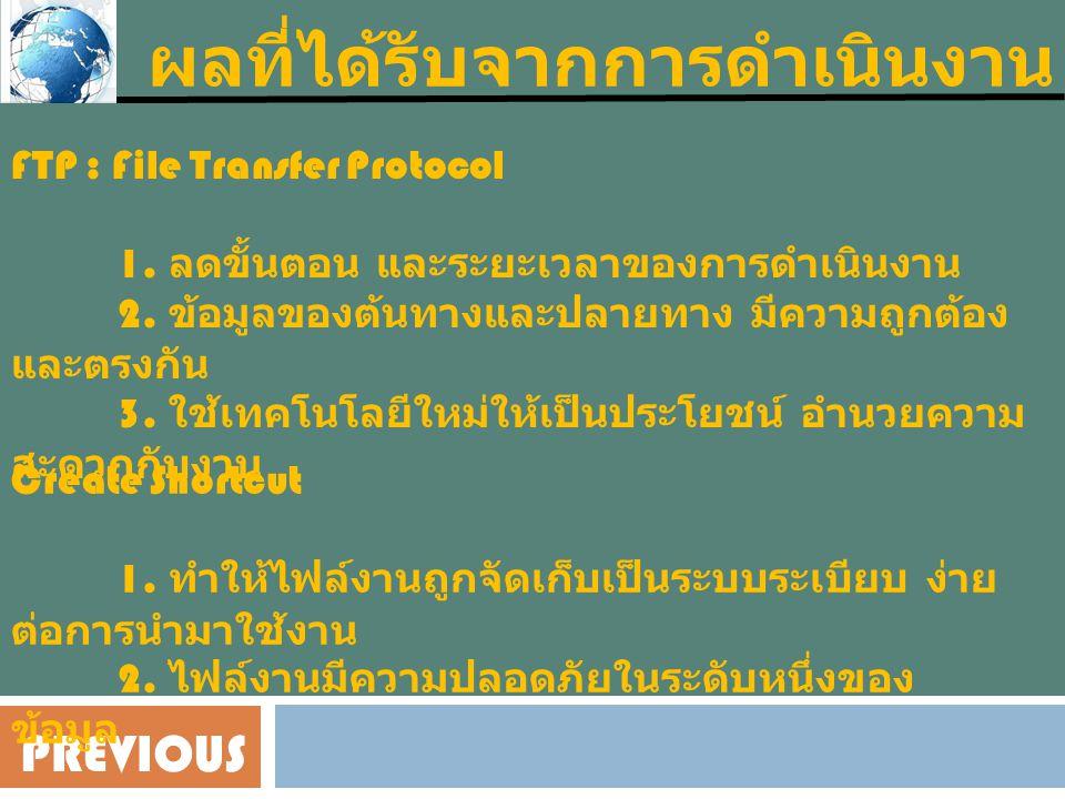 PREVIOUS ผลที่ได้รับจากการดำเนินงาน FTP : File Transfer Protocol 1.