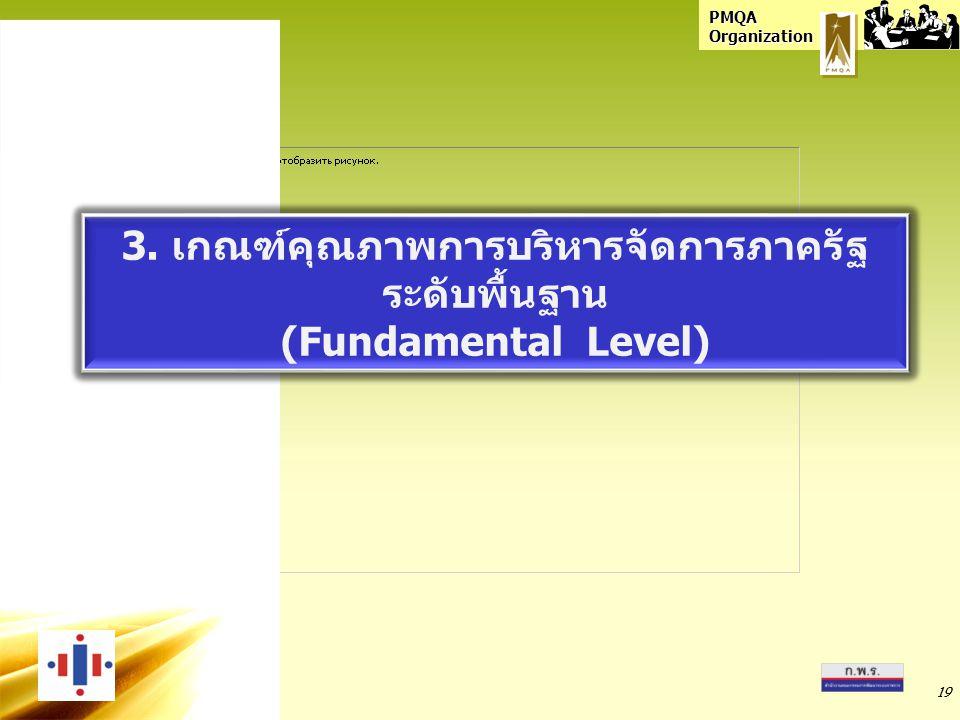 PMQA Organization 19 3. เกณฑ์คุณภาพการบริหารจัดการภาครัฐ ระดับพื้นฐาน (Fundamental Level) 3. เกณฑ์คุณภาพการบริหารจัดการภาครัฐ ระดับพื้นฐาน (Fundamenta