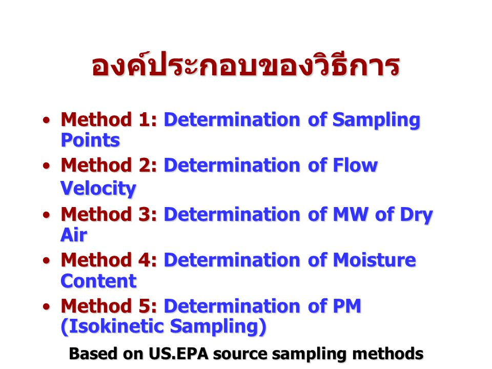 องค์ประกอบของวิธีการ Method 1: Determination of Sampling PointsMethod 1: Determination of Sampling Points Method 2: Determination of Flow VelocityMeth