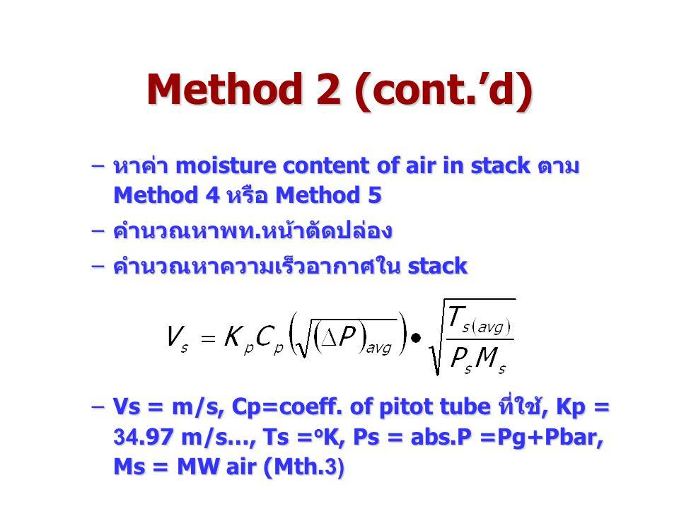 Method 2 (cont.'d) –หาค่า moisture content of air in stack ตาม Method 4 หรือ Method 5 –คำนวณหาพท.หน้าตัดปล่อง –คำนวณหาความเร็วอากาศใน stack –Vs = m/s, Cp=coeff.