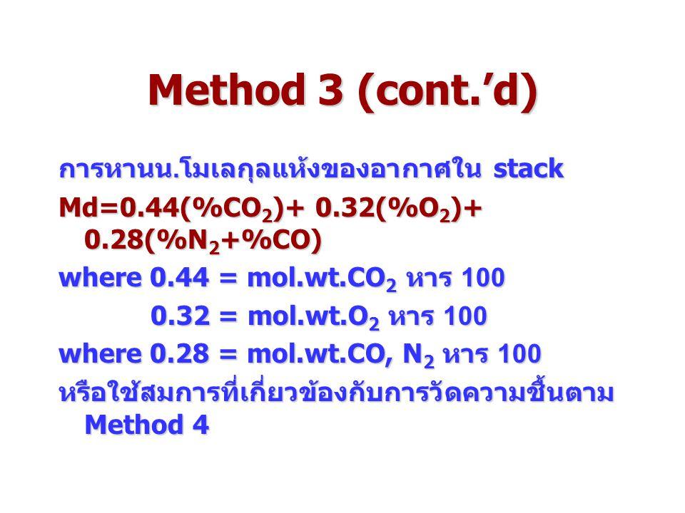 Method 3 (cont.'d) การหานน.โมเลกุลแห้งของอากาศใน stack Md=0.44(%CO 2 )+ 0.32(%O 2 )+ 0.28(%N 2 +%CO) where 0.44 = mol.wt.CO 2 หาร 100 0.32 = mol.wt.O 2 หาร 100 0.32 = mol.wt.O 2 หาร 100 where 0.28 = mol.wt.CO, N 2 หาร 100 หรือใช้สมการที่เกี่ยวข้องกับการวัดความชื้นตาม Method 4