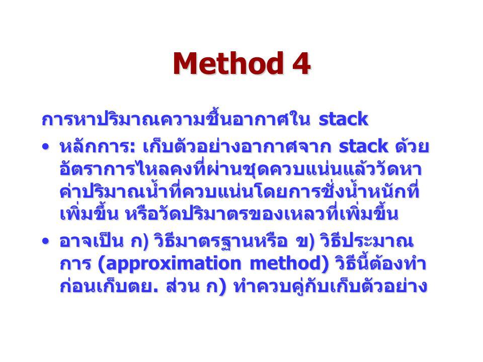 Method 4 การหาปริมาณความชื้นอากาศใน stack หลักการ: เก็บตัวอย่างอากาศจาก stack ด้วย อัตราการไหลคงที่ผ่านชุดควบแน่นแล้ววัดหา ค่าปริมาณน้ำที่ควบแน่นโดยการชั่งน้ำหนักที่ เพิ่มขึ้น หรือวัดปริมาตรของเหลวที่เพิ่มขึ้นหลักการ: เก็บตัวอย่างอากาศจาก stack ด้วย อัตราการไหลคงที่ผ่านชุดควบแน่นแล้ววัดหา ค่าปริมาณน้ำที่ควบแน่นโดยการชั่งน้ำหนักที่ เพิ่มขึ้น หรือวัดปริมาตรของเหลวที่เพิ่มขึ้น อาจเป็น ก) วิธีมาตรฐานหรือ ข) วิธีประมาณ การ (approximation method) วิธีนี้ต้องทำ ก่อนเก็บตย.