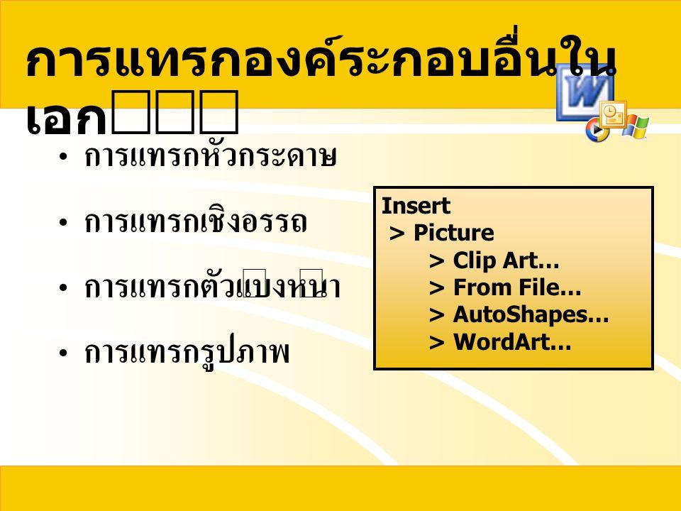การแทรกองค์ระกอบอื่นใน เอก  การแทรกหัวกระดาษ การแทรกเชิงอรรถ การแทรกตัวแบ่งหน้า การแทรกรูปภาพ Insert > Picture > Clip Art… > From File… > AutoShape