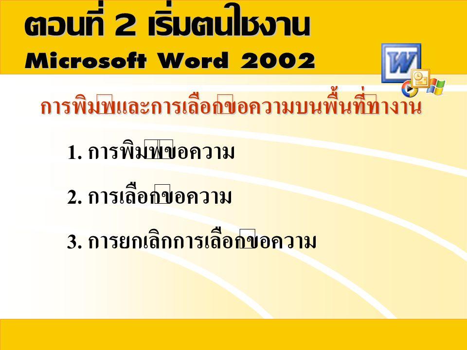 การพิมพ์และการเลือกข้อความบนพื้นที่ทำงาน 1. การพิมพ์ข้อความ 2. การเลือกข้อความ 3. การยกเลิกการเลือกข้อความ ตอนที่  เริ่มต้นใช้งาน 