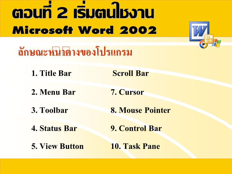 ตอนที่  เริ่มต้นใช้งาน  ลักษณะหน้าต่างของโปรแกรม TaskPane Cursor Scroll Bars View Button Toolbar Status bar Control Bar