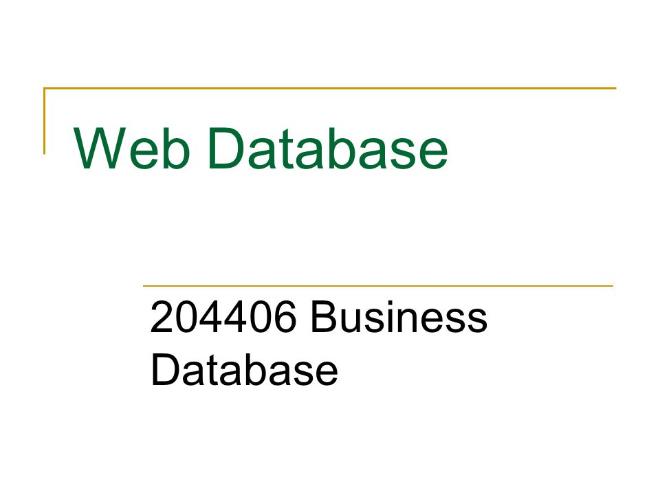 Web Database 204406 Business Database