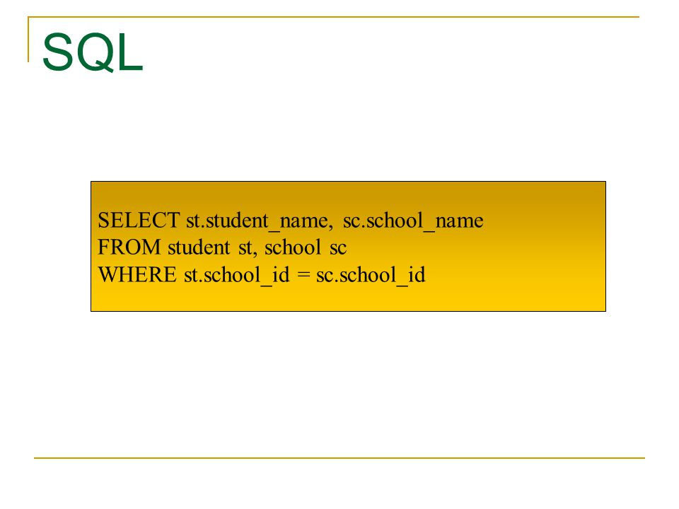 SQL SELECT st.student_name, sc.school_name FROM student st, school sc WHERE st.school_id = sc.school_id