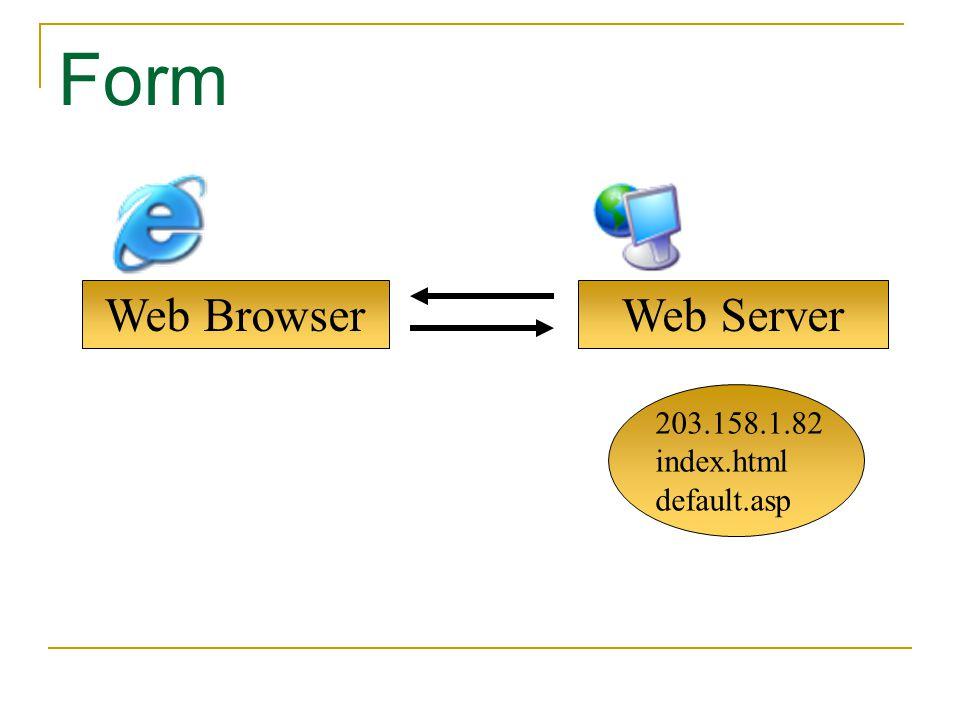 Web Browser Form Web Server 203.158.1.82 index.html default.asp
