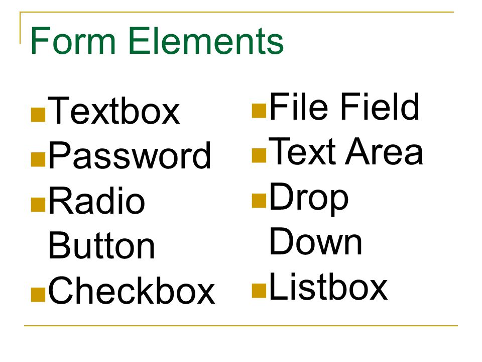 Form Elements Textbox Password Radio Button Checkbox File Field Text Area Drop Down Listbox