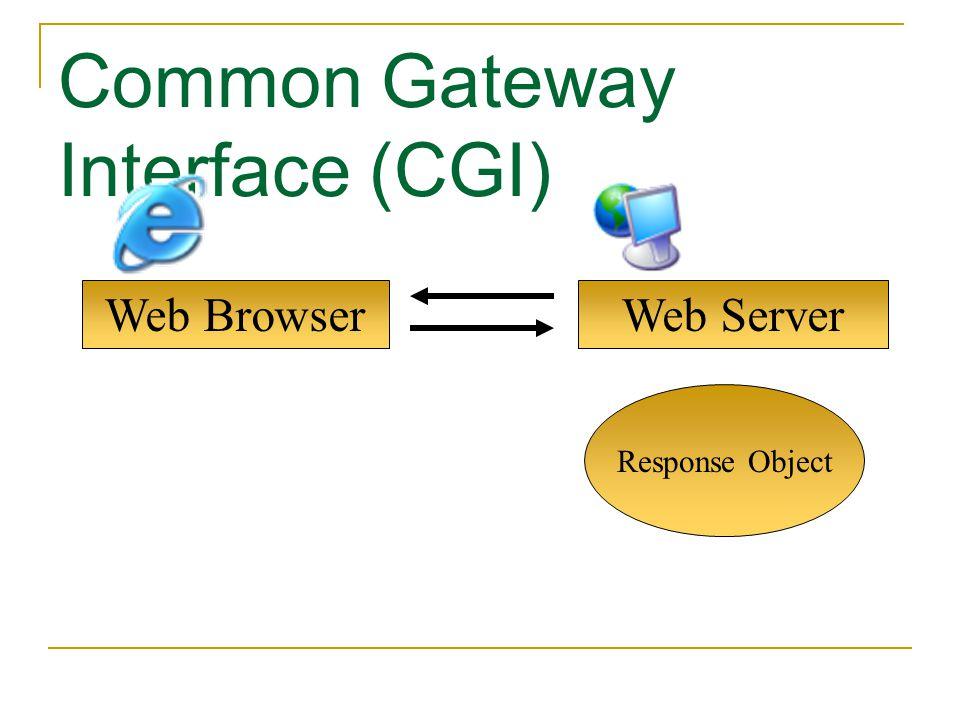 Web Browser Common Gateway Interface (CGI) Web Server Response Object
