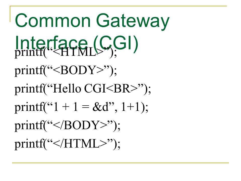 "Common Gateway Interface (CGI) printf("" ""); printf(""Hello CGI ""); printf(""1 + 1 = &d"", 1+1); printf("" "");"