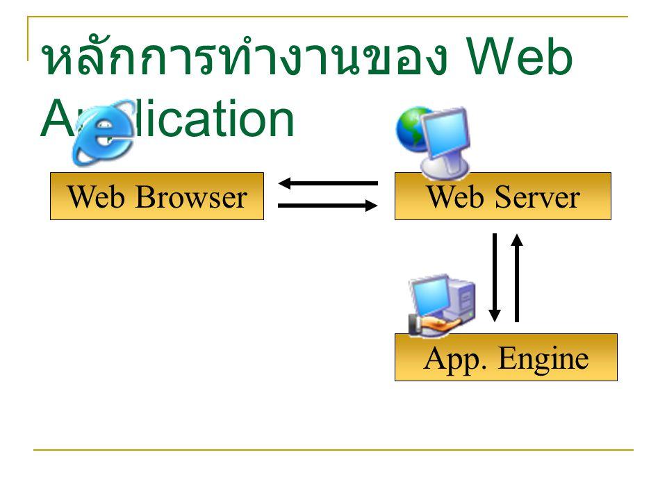 App. Engine Web Browser หลักการทำงานของ Web Application Web Server