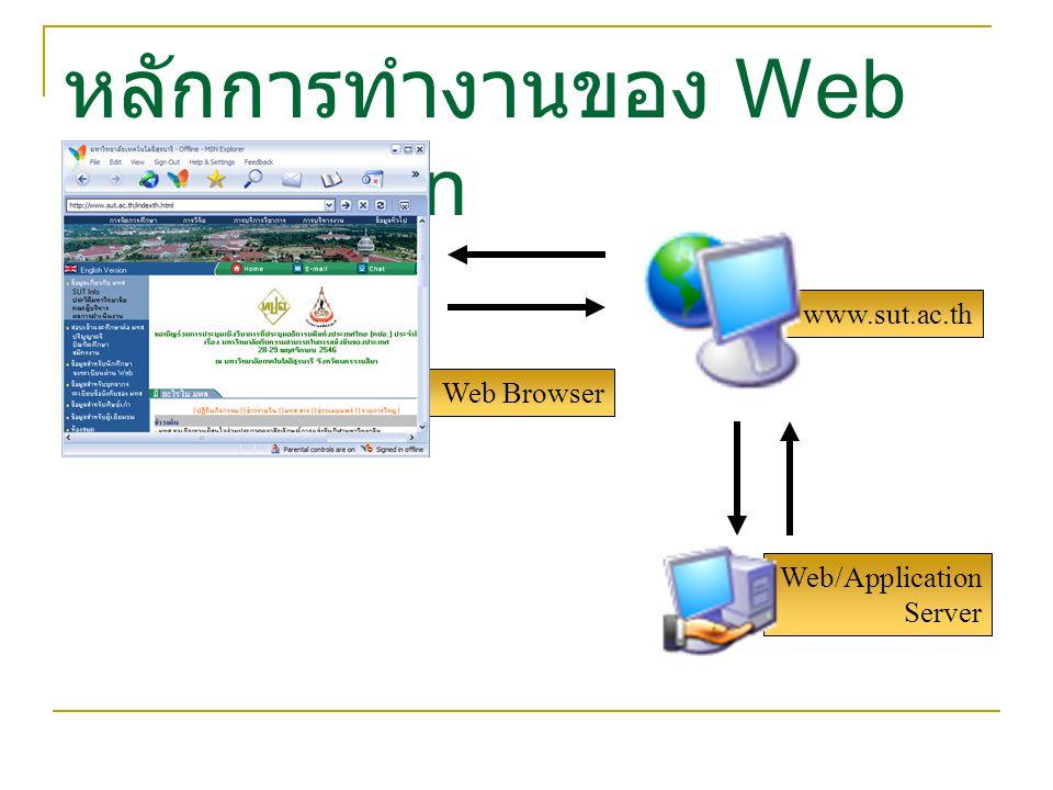 Web/Application Server Web Browser หลักการทำงานของ Web Application www.sut.ac.th