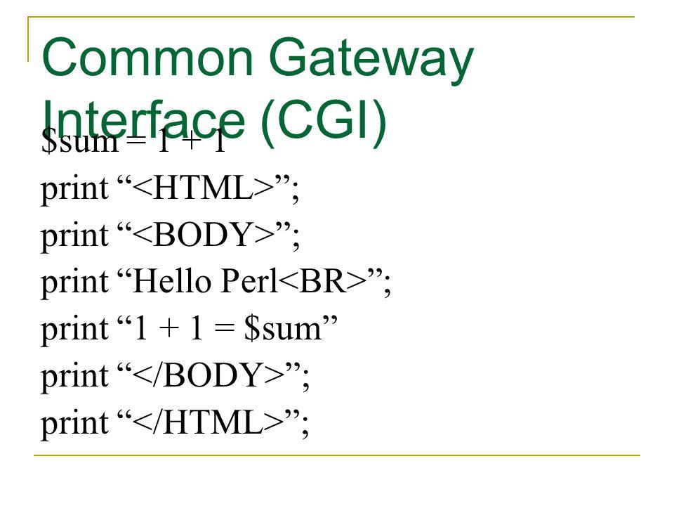 "Common Gateway Interface (CGI) $sum = 1 + 1 print "" ""; print ""Hello Perl ""; print ""1 + 1 = $sum"" print "" "";"
