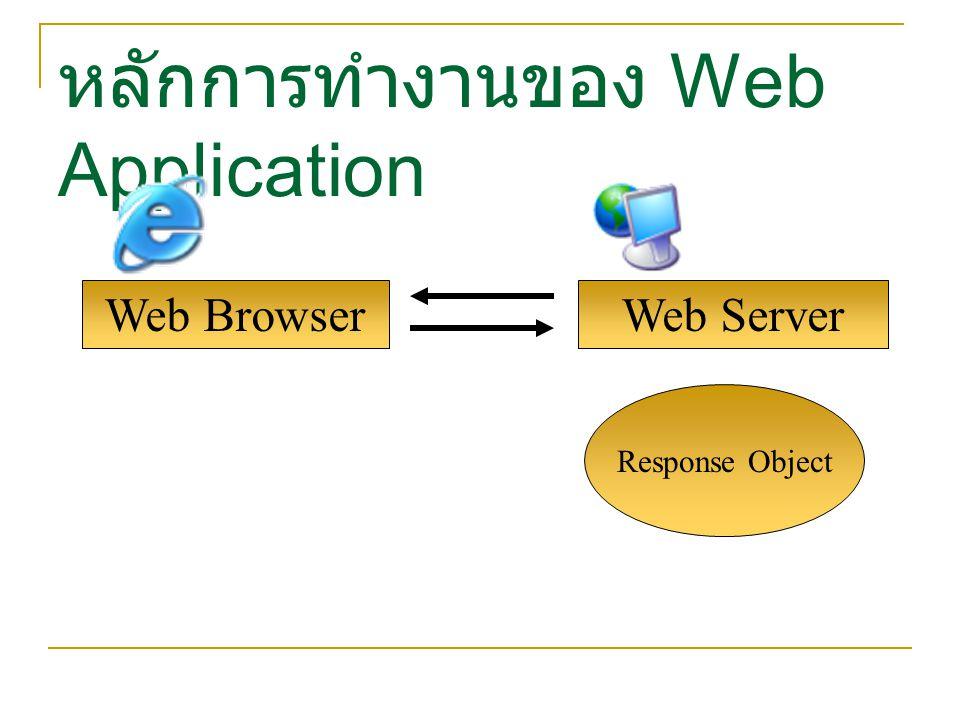 Web Browser หลักการทำงานของ Web Application Web Server Response Object