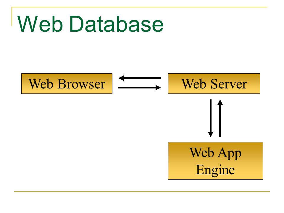 Web App Engine Web Browser Web Database Web Server