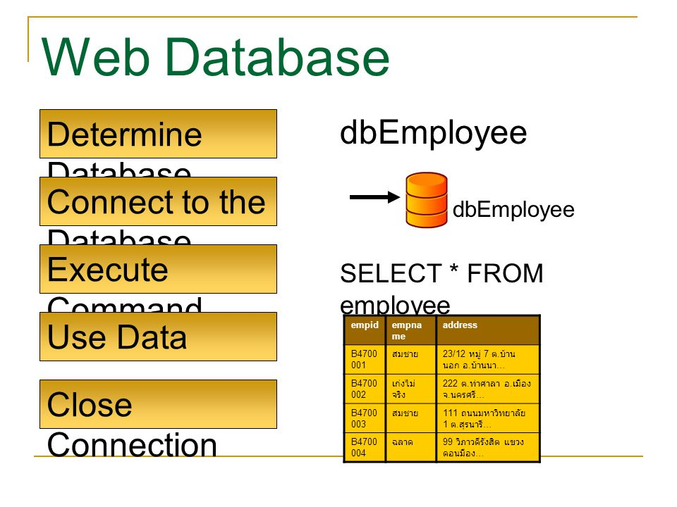 Determine Database Connect to the Database Execute Command Use Data Close Connection dbEmployee SELECT * FROM employee dbEmployee empidempna me addres