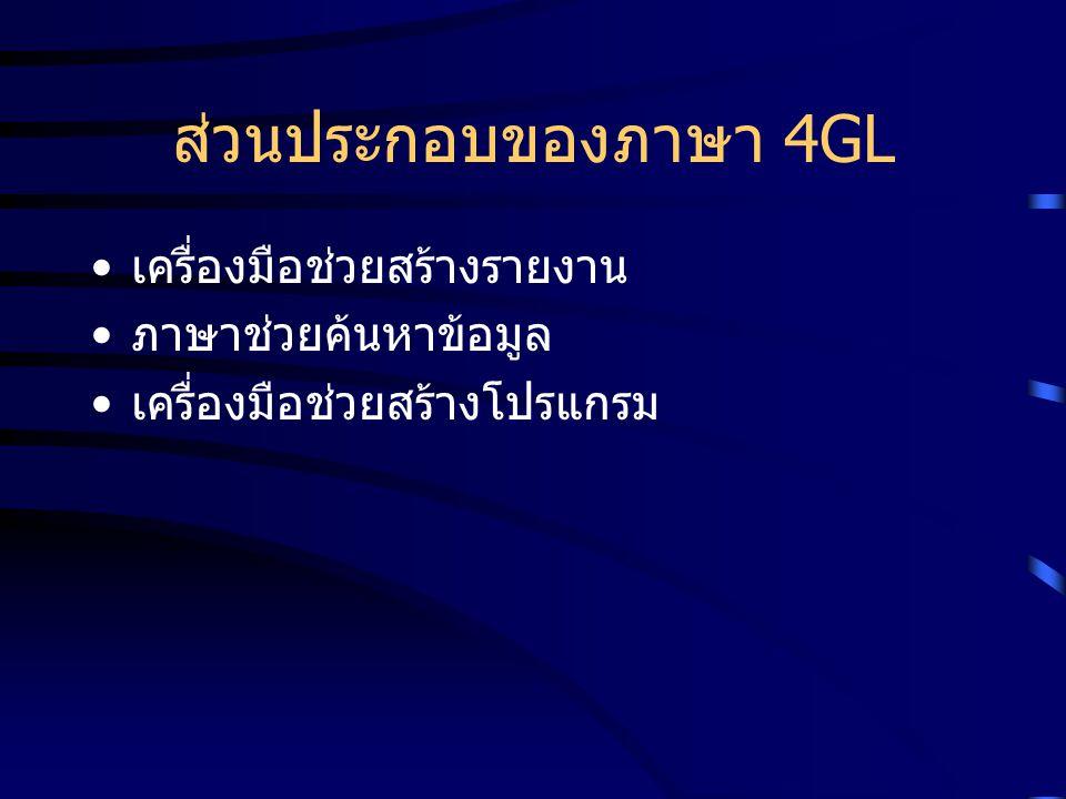 ส่วนประกอบของภาษา 4GL เครื่องมือช่วยสร้างรายงาน ภาษาช่วยค้นหาข้อมูล เครื่องมือช่วยสร้างโปรแกรม