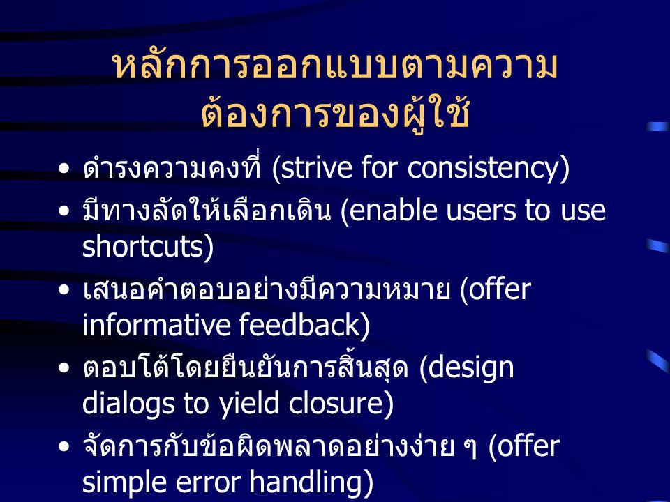 หลักการออกแบบตามความ ต้องการของผู้ใช้ ดำรงความคงที่ (strive for consistency) มีทางลัดให้เลือกเดิน (enable users to use shortcuts) เสนอคำตอบอย่างมีความ