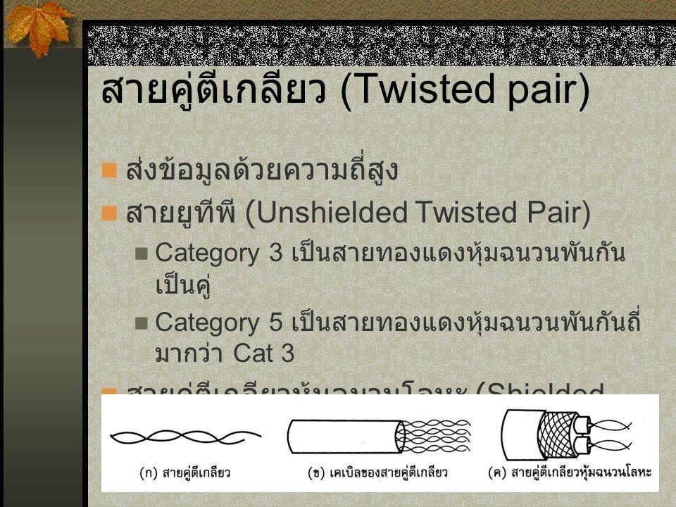 สายคู่ตีเกลียว (Twisted pair) ส่งข้อมูลด้วยความถี่สูง สายยูทีพี (Unshielded Twisted Pair) Category 3 เป็นสายทองแดงหุ้มฉนวนพันกัน เป็นคู่ Category 5 เป็นสายทองแดงหุ้มฉนวนพันกันถี่ มากว่า Cat 3 สายคู่ตีเกลียวหุ้มฉนวนโลหะ (Shielded Twisted Pair)