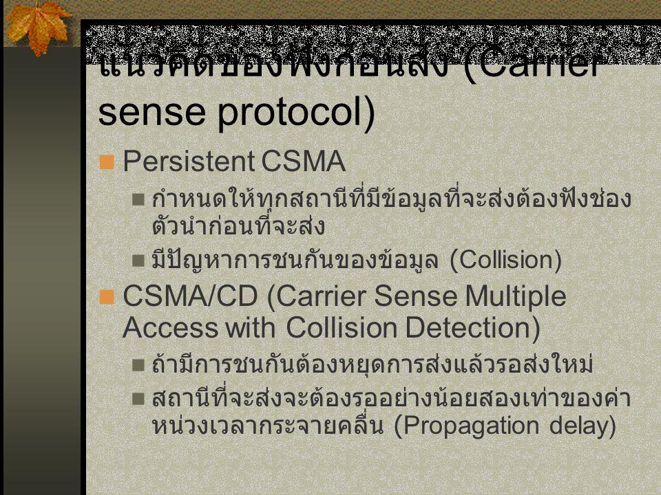 แนวคิดของฟังก่อนส่ง (Carrier sense protocol) Persistent CSMA กำหนดให้ทุกสถานีที่มีข้อมูลที่จะส่งต้องฟังช่อง ตัวนำก่อนที่จะส่ง มีปัญหาการชนกันของข้อมูล (Collision) CSMA/CD (Carrier Sense Multiple Access with Collision Detection) ถ้ามีการชนกันต้องหยุดการส่งแล้วรอส่งใหม่ สถานีที่จะส่งจะต้องรออย่างน้อยสองเท่าของค่า หน่วงเวลากระจายคลื่น (Propagation delay)