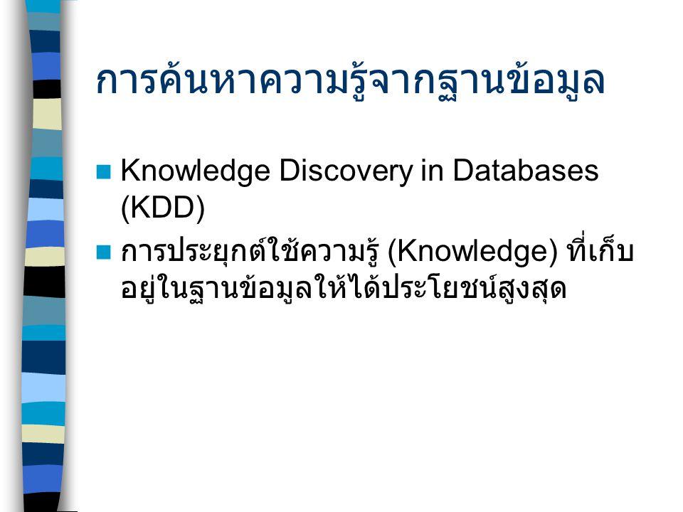 การค้นหาความรู้จากฐานข้อมูล Knowledge Discovery in Databases (KDD) การประยุกต์ใช้ความรู้ (Knowledge) ที่เก็บ อยู่ในฐานข้อมูลให้ได้ประโยชน์สูงสุด