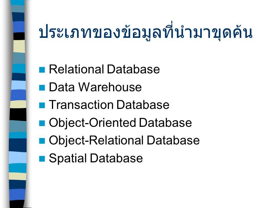 ประเภทของข้อมูลที่นำมาขุดค้น Relational Database Data Warehouse Transaction Database Object-Oriented Database Object-Relational Database Spatial Database