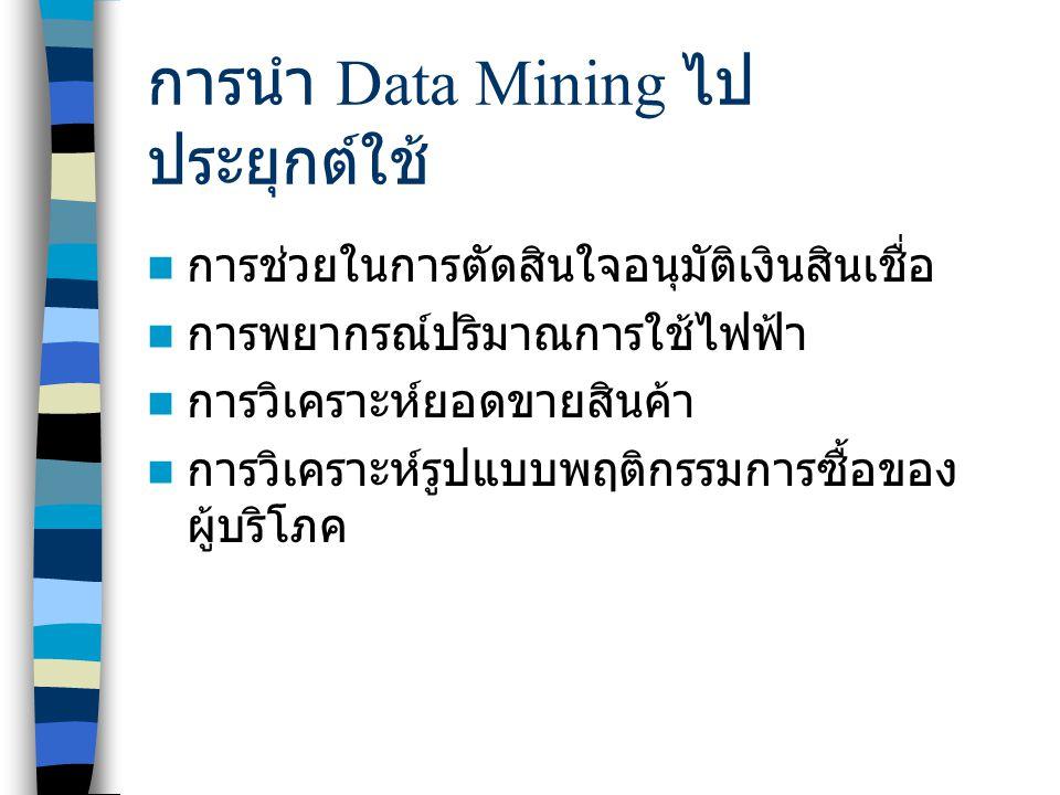 การนำ Data Mining ไป ประยุกต์ใช้ การช่วยในการตัดสินใจอนุมัติเงินสินเชื่อ การพยากรณ์ปริมาณการใช้ไฟฟ้า การวิเคราะห์ยอดขายสินค้า การวิเคราะห์รูปแบบพฤติกรรมการซื้อของ ผู้บริโภค