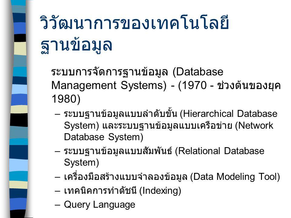 วิวัฒนาการของเทคโนโลยี ฐานข้อมูล ระบบการจัดการฐานข้อมูล (Database Management Systems) - (1970 - ช่วงต้นของยุค 1980) – ระบบฐานข้อมูลแบบลำดับขั้น (Hierarchical Database System) และระบบฐานข้อมูลแบบเครือข่าย (Network Database System) – ระบบฐานข้อมูลแบบสัมพันธ์ (Relational Database System) – เครื่องมือสร้างแบบจำลองข้อมูล (Data Modeling Tool) – เทคนิคการทำดัชนี (Indexing) –Query Language
