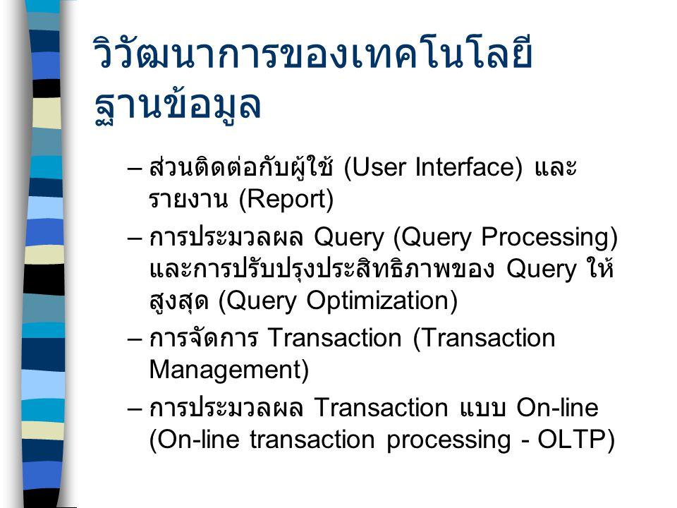 Database Query VS Data Mining ลูกค้าทั้งหมดที่ซื้อ สินค้าเกิน 1000 บาท ในเดือนที่แล้ว ลูกค้าทั้งหมดที่ซื้อขนม ปัง มีลูกหนี้กี่คนที่มี เงินเดือนสูงกว่า 10000 บาท รูปแบบพฤติกรรมการ ซื้อสินค้าของลูกค้า ถ้าลูกค้าซื้อขนมปัง แล้วจะซื้อ สินค้าใดด้วยบ้าง ลูกหนี้ที่เป็นลูกหนี้ชั้นดี มีคุณสมบัติอย่างไรบ้าง