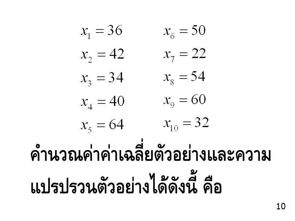 คำนวณค่าค่าเฉลี่ยตัวอย่างและความ แปรปรวนตัวอย่างได้ดังนี้ คือ 10