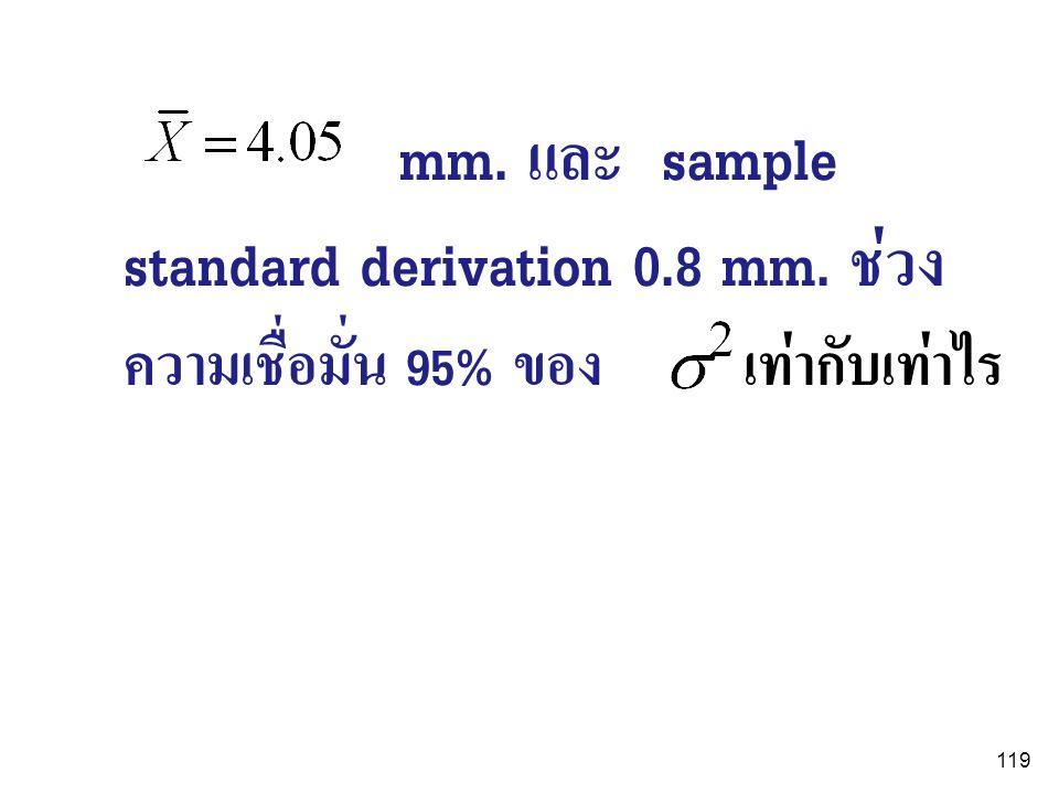 119 mm. และ sample standard derivation 0.8 mm. ช่วง ความเชื่อมั่น 95% ของ เท่ากับเท่าไร