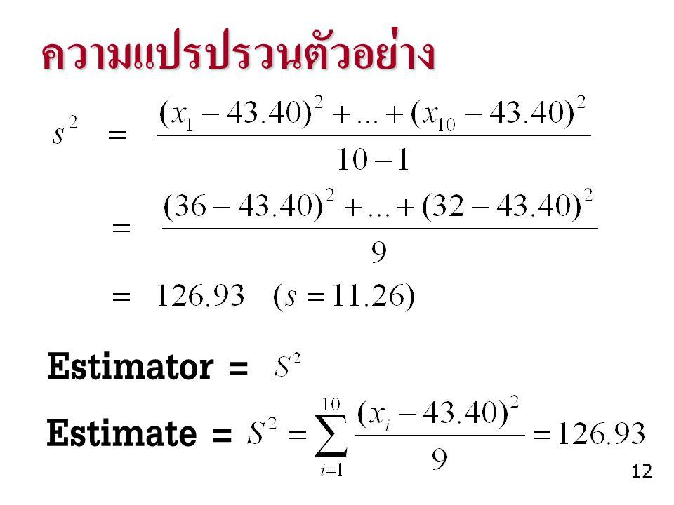 ความแปรปรวนตัวอย่าง Estimator = Estimate = 12