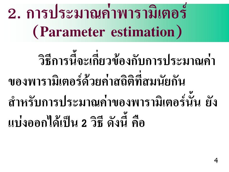 2. การประมาณค่าพารามิเตอร์ (Parameter estimation) วิธีการนี้จะเกี่ยวข้องกับการประมาณค่า ของพารามิเตอร์ด้วยค่าสถิติที่สมนัยกัน สำหรับการประมาณค่าของพาร