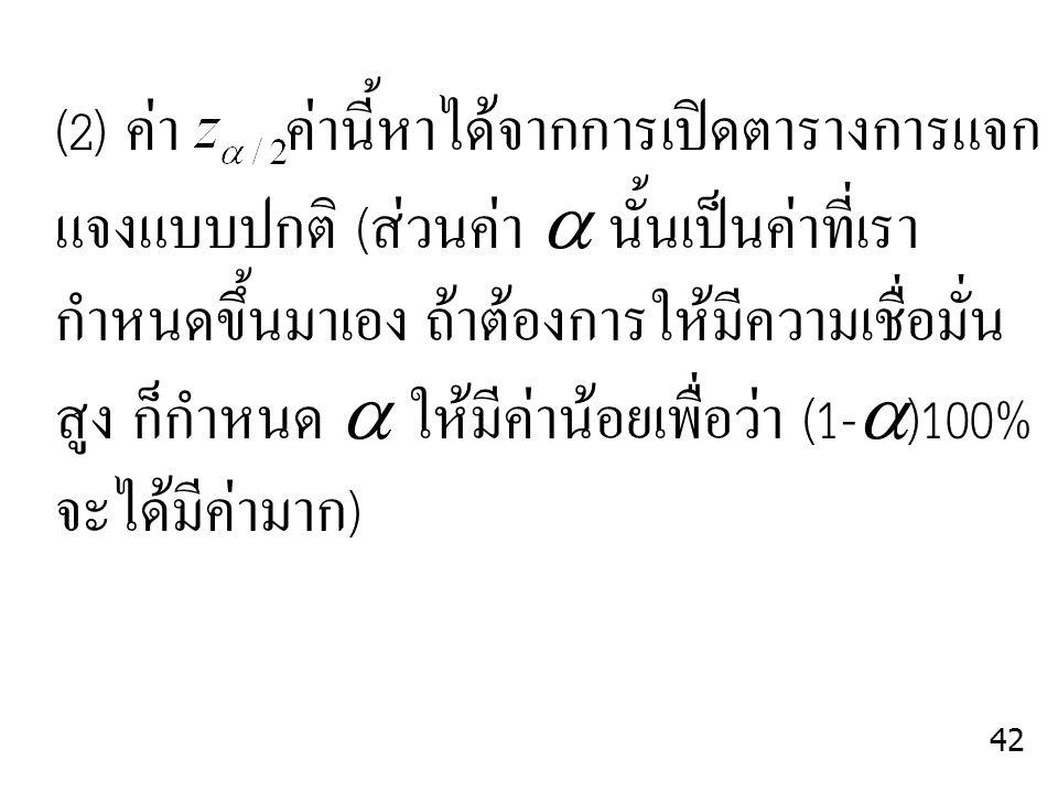 (2) ค่า ค่านี้หาได้จากการเปิดตารางการแจก แจงแบบปกติ (ส่วนค่า  นั้นเป็นค่าที่เรา กำหนดขึ้นมาเอง ถ้าต้องการให้มีความเชื่อมั่น สูง ก็กำหนด  ให้มีค่าน้อ