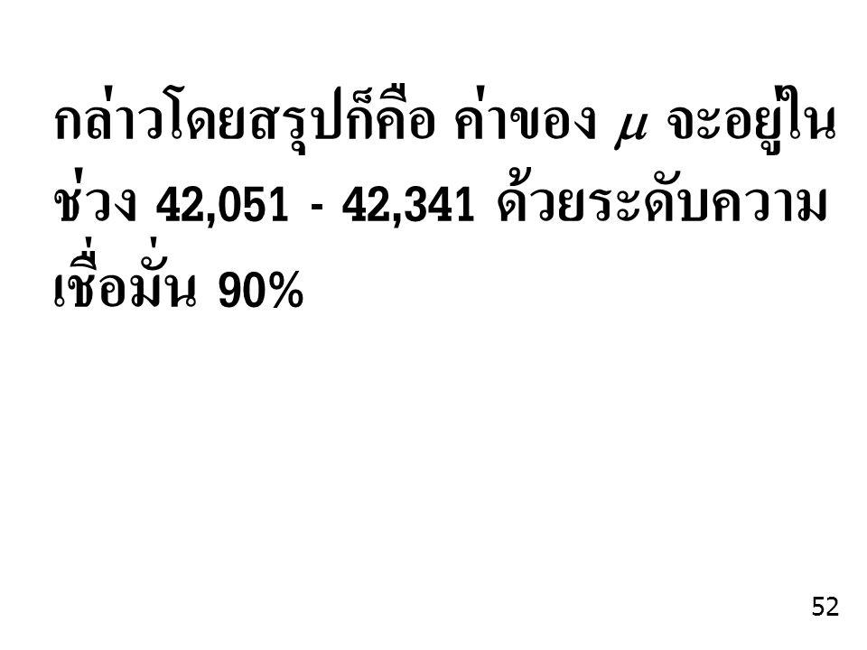 กล่าวโดยสรุปก็คือ ค่าของ   จะอยู่ใน ช่วง 42,051 - 42,341 ด้วยระดับความ เชื่อมั่น 90% 52