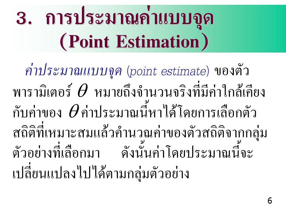 3. การประมาณค่าแบบจุด (Point Estimation) (Point Estimation) ค่าประมาณแบบจุด (point estimate) ของตัว พารามิเตอร์  หมายถึงจำนวนจริงที่มีค่าใกล้เคียง กั