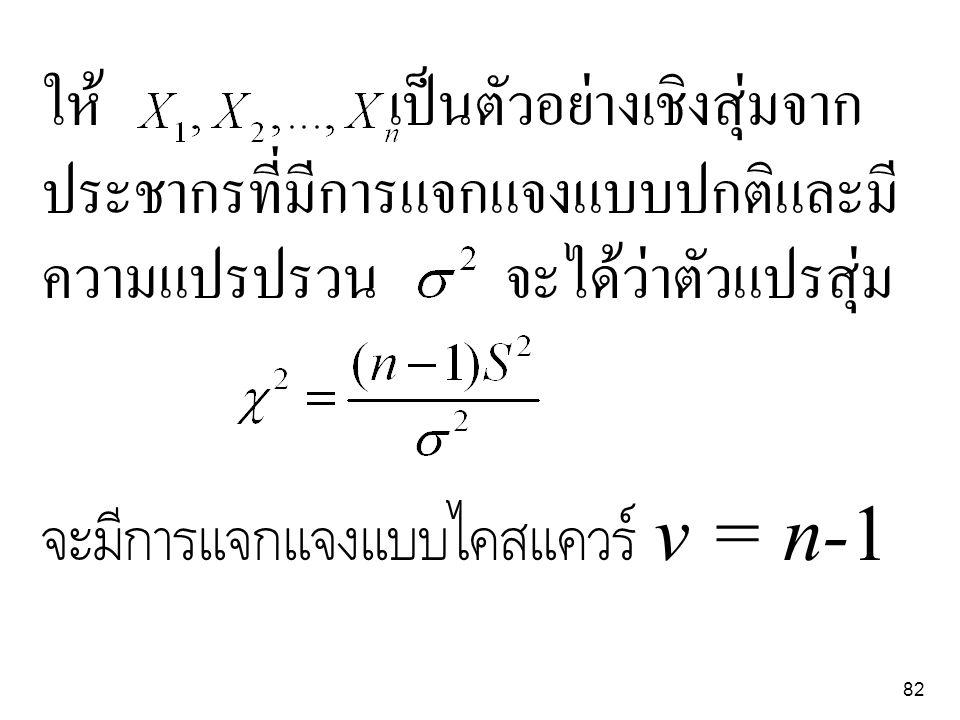82 ให้ เป็นตัวอย่างเชิงสุ่มจาก ประชากรที่มีการแจกแจงแบบปกติและมี ความแปรปรวน จะได้ว่าตัวแปรสุ่ม จะมีการแจกแจงแบบไคสแควร์ v = n-1