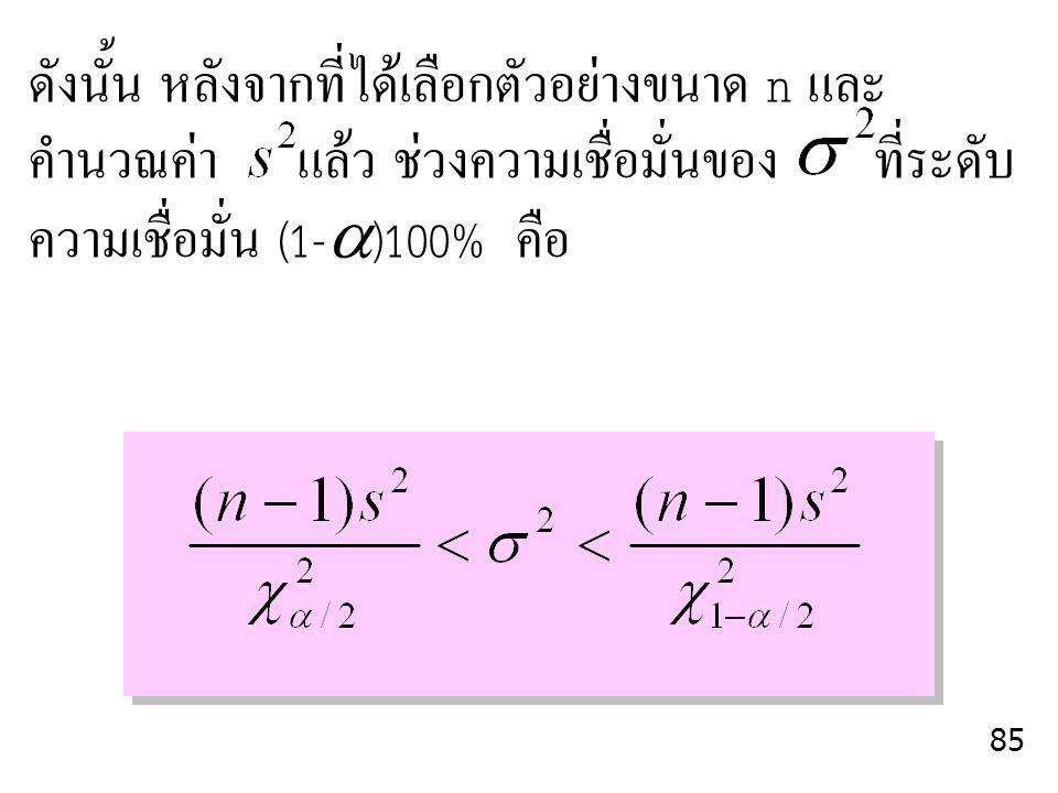 ดังนั้น หลังจากที่ได้เลือกตัวอย่างขนาด n และ คำนวณค่า แล้ว ช่วงความเชื่อมั่นของ ที่ระดับ ความเชื่อมั่น (1-  )100% คือ 85
