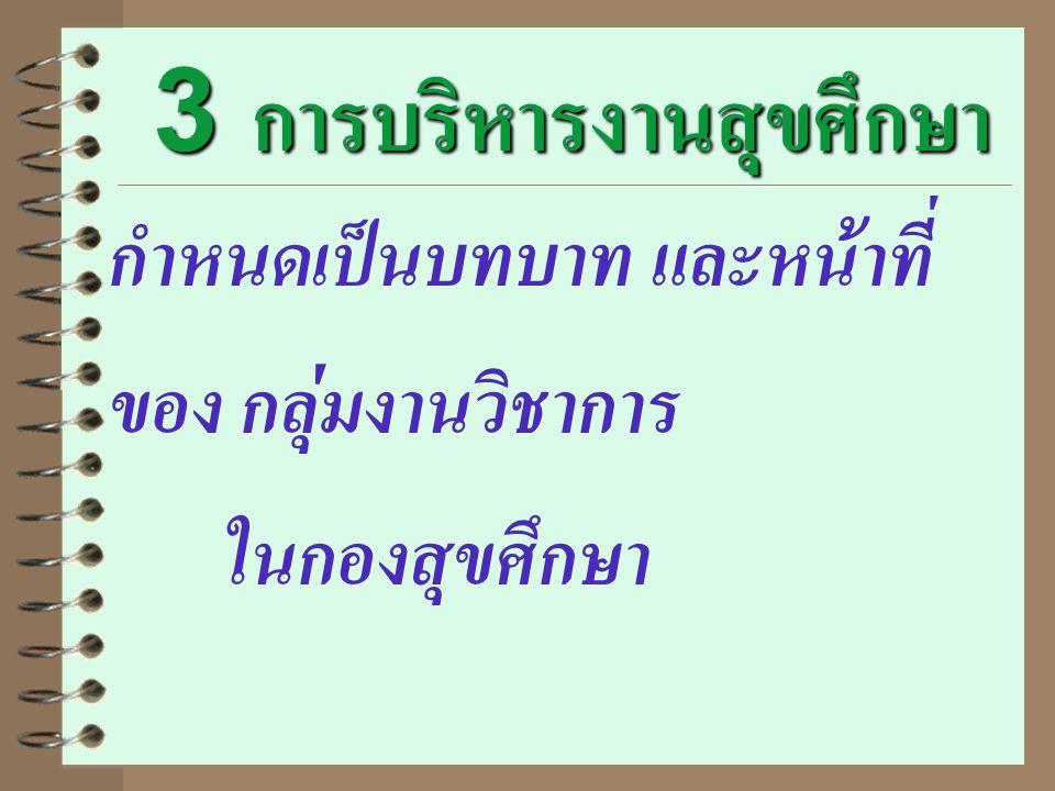 3 การบริหารงานสุขศึกษา กำหนดเป็นบทบาท และหน้าที่ ของ กลุ่มงานวิชาการ ในกองสุขศึกษา
