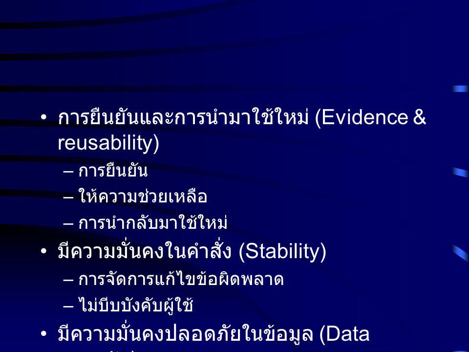 การยืนยันและการนำมาใช้ใหม่ (Evidence & reusability) – การยืนยัน – ให้ความช่วยเหลือ – การนำกลับมาใช้ใหม่ มีความมั่นคงในคำสั่ง (Stability) – การจัดการแก