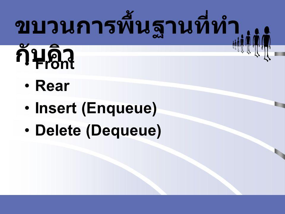 ขบวนการพื้นฐานที่ทำ กับคิว Front Rear Insert (Enqueue) Delete (Dequeue)