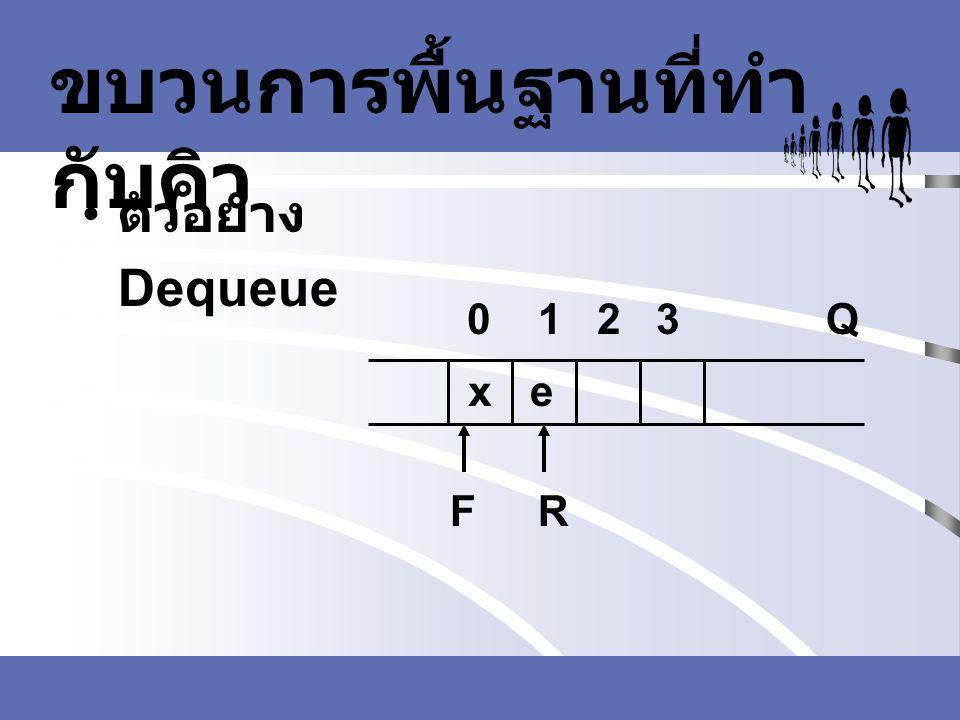 ขบวนการพื้นฐานที่ทำ กับคิว ตัวอย่าง Dequeue FR Q0 1 2 3 xe