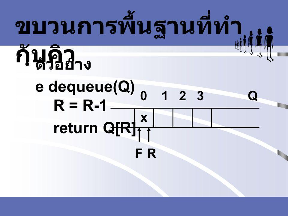 ขบวนการพื้นฐานที่ทำ กับคิว ตัวอย่าง e dequeue(Q) R = R-1 return Q[R] FR Q0 1 2 3 x