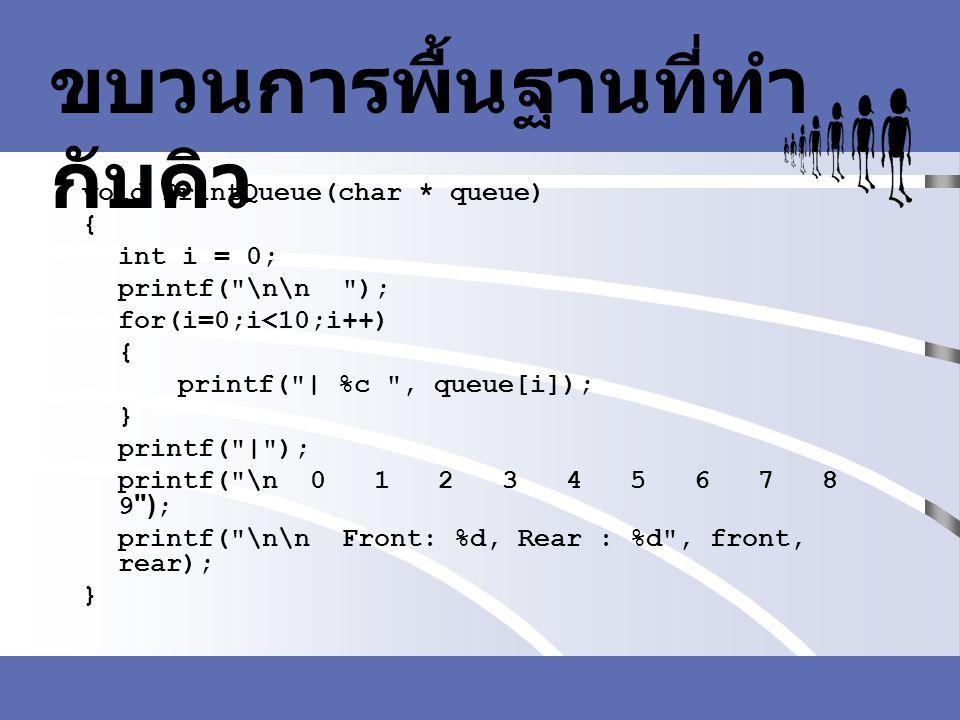 ขบวนการพื้นฐานที่ทำ กับคิว void PrintQueue(char * queue) { int i = 0; printf(